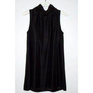 Marciano:  Black Jeweled Mock Neck A-line Dress
